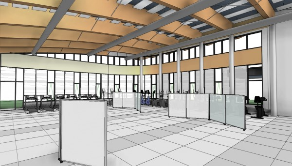 An Architects Rendering Shows The Interior Fitness Area Of Rodney Smith Wellness Center Being Added Drawing Courtesy Northern Maine Community College