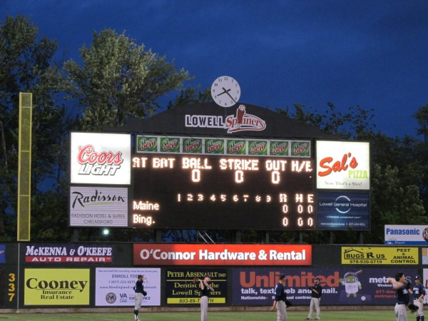 The scoreboard at LeLacheur Park in Lowell, Mass., the site of the 2013 America East Baseball Championship, where the University of Maine is competing this week.
