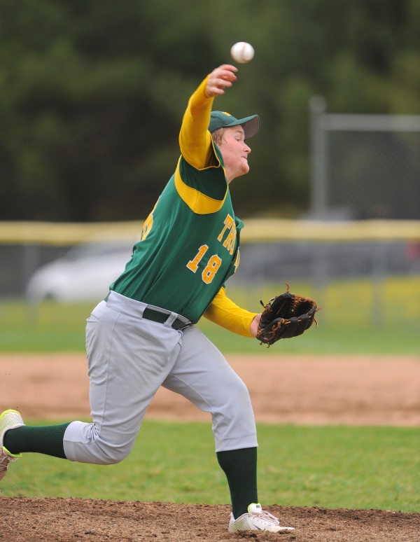 MDI's Ben Walls pitches during the game against Hermon in Hermon Thursday.