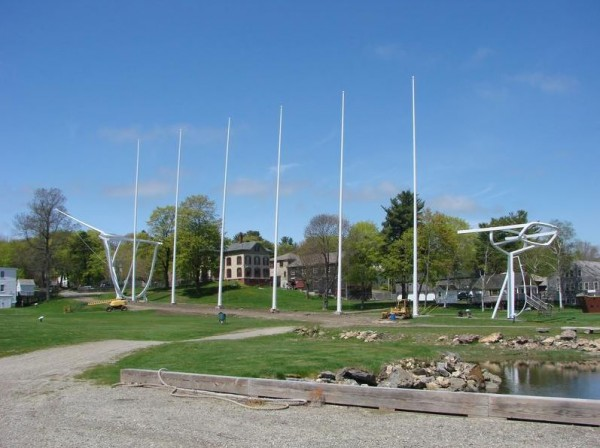 Six 120-foot-tall masts are new to Maine Maritime Museum's sculptural evocation of the 1909 schooner Wyoming, said to be the largest wooden sailing vessel ever built in the U.S.