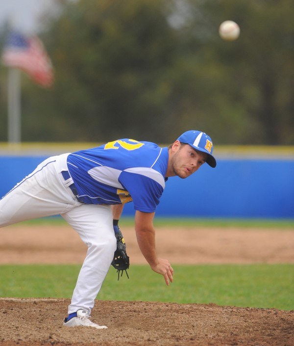 Hermon's Will Perkins pitches during the game against MDI in Hermon Thursday.