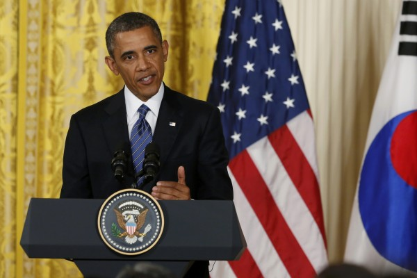 President Barack Obama addresses a joint news conference in the East Room of the White House in Washington on Tuesday.