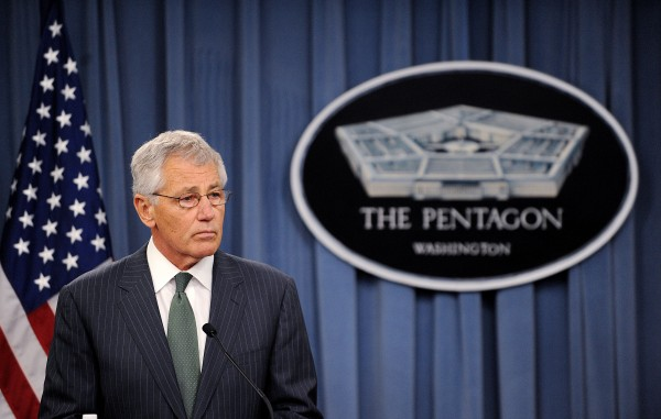 U.S. Defense Secretary Chuck Hagel speaks during a press conference with British Defense Secretary Phillip Hammond (not pictured) at the Pentagon in Arlington, Virginia,  on Thursday.