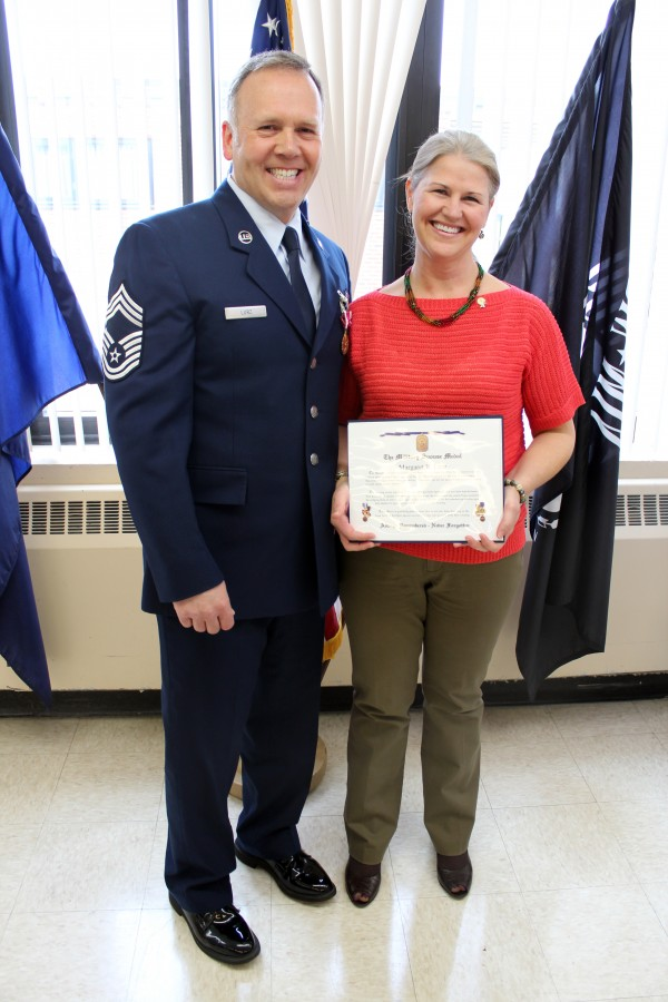 "Chief Master Sgt. Jerard ""Marty"" Lurz of Minot, Maine, retired March 31 from the Maine Air National Guard after nearly 30 years of military service. He is pictured with his wife, Margaret Lurz."