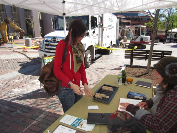 Gabrielle Sturchio of Portland uses her electronics benefit card to obtain $5 in wooden tokens at the Monument Square farmers market in Portland Wednesday, May 15.