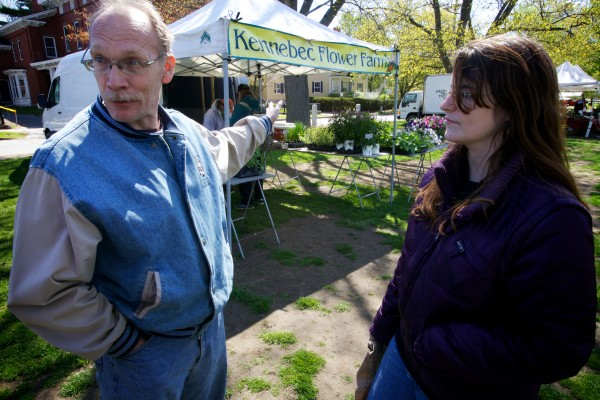Rose and Randy Bolton perused the veggies at the Brunswick Farmers Market Tuesday morning, asking if anyone accepted SNAP.