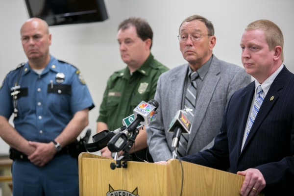 Penobscot Sheriff Chief Deputy Troy Morton (right) holds a press conference Thursday about the ongoing investigation into the disappearance of Glenburn teen Nichole Cable.