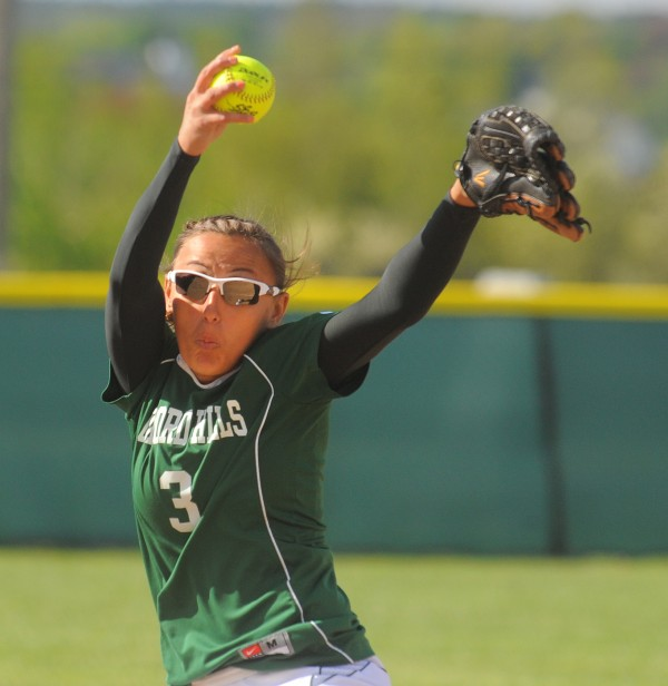 Oxford Hills' Crystal West pitches during the game against Brewer in Brewer on Friday. Gabor Degre / BDN