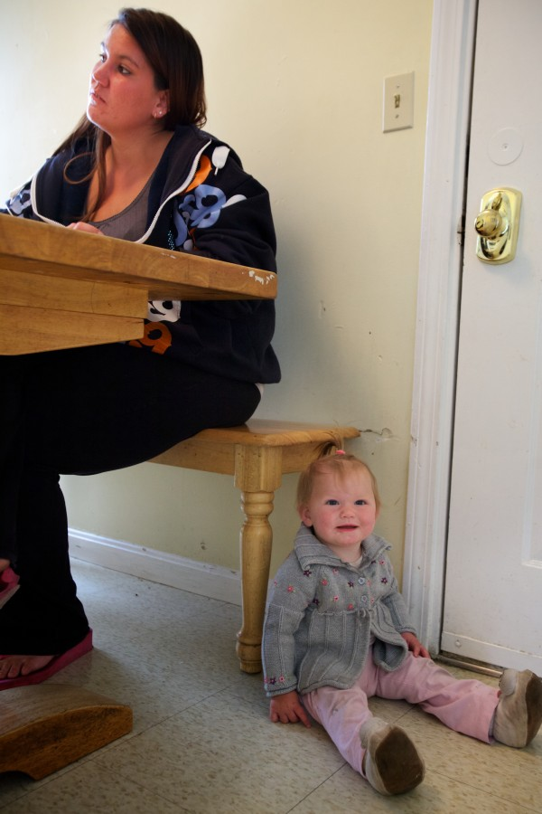 Jessica Fleming, 25, said she can't count the number of apartments she's applied for without a call back. Fleming has been living at the Portland Family Shelter for nearly two months with her 10-month-old daughter Kaiden. Troy R. Bennett | BDN