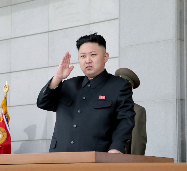 North Korean leader Kim Jong-un gestures during a ceremony marking the 81st anniversary of the founding of the Korean People's Army (KPA) at the plaza of the Kumsusan Palace of the Sun in Pyongyang April 25, 2013.