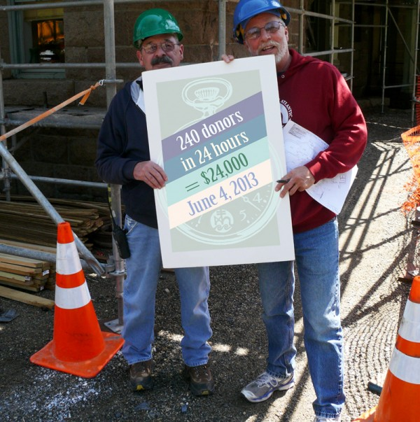 COA's longest-serving employee, Millard Dority (right), and Robert Nolan hold a sign asking for donations on June 4. They are standing outside The Turrets, undergoing major renovations this summer.