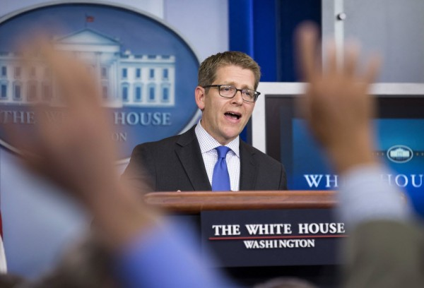 White House spokesman Jay Carney speaks during a news conference at the White House in Washington May 10, 2013. The Obama administration denied Republican accusations of a cover-up in last year's deadly attack in Libya, moving on Friday to defuse a renewed political controversy after a news report said memos on the incident were edited to omit references to a CIA warning of an al Qaeda threat.