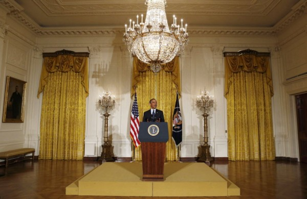 U.S. President Barack Obama delivers a statement from the East Room of the White House in Washington, May 15, 2013. The president announced that acting IRS Commissioner Steven Miller had resigned in the wake of a growing scandal involving the agency.