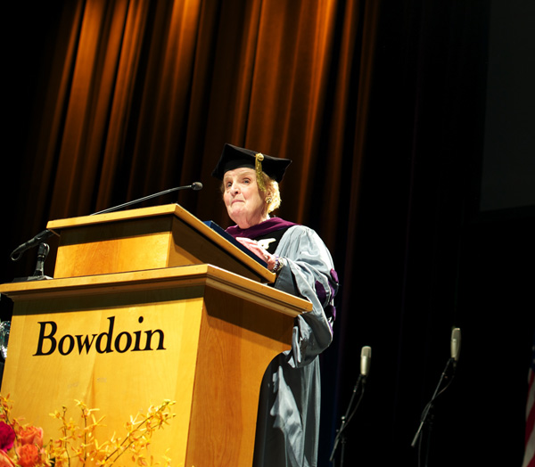 First female Secretary of State Madeleine Albright stressed to Bowdoin College's class of 2013 that constant innovation and learning are unavoidable for current graduates, entering into a more competitive and fast-paced world than when she graduated.