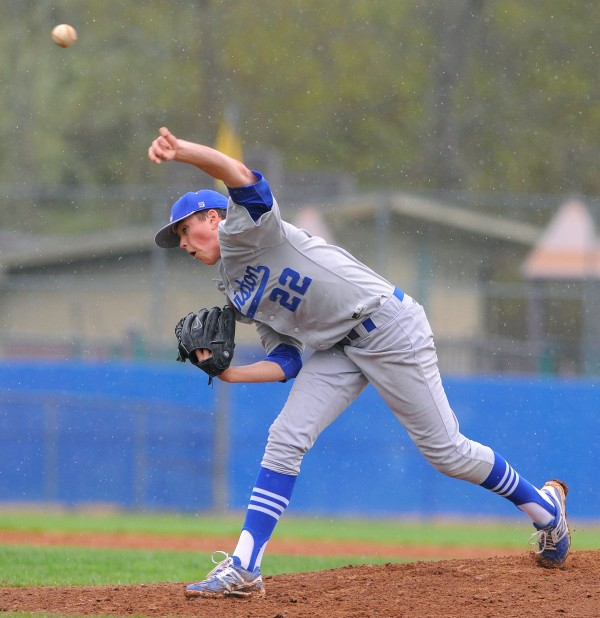Lewiston's Eddie Emerson pitches during the game against Bangor in Bangor on Friday.