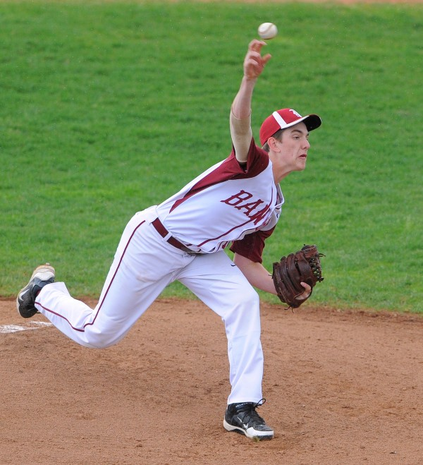 Bangor's Justin Courtney pitches during the game against Lewiston in Bangor on Friday.