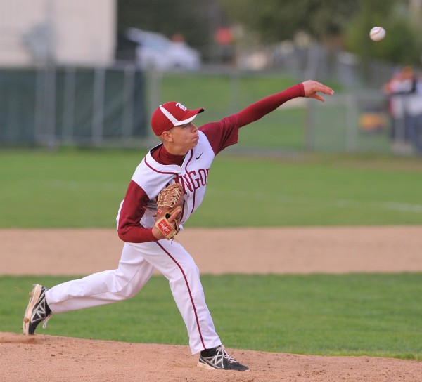Bangor's Trevor Delaite pitches during the game against Brewer in Brewer Monday.