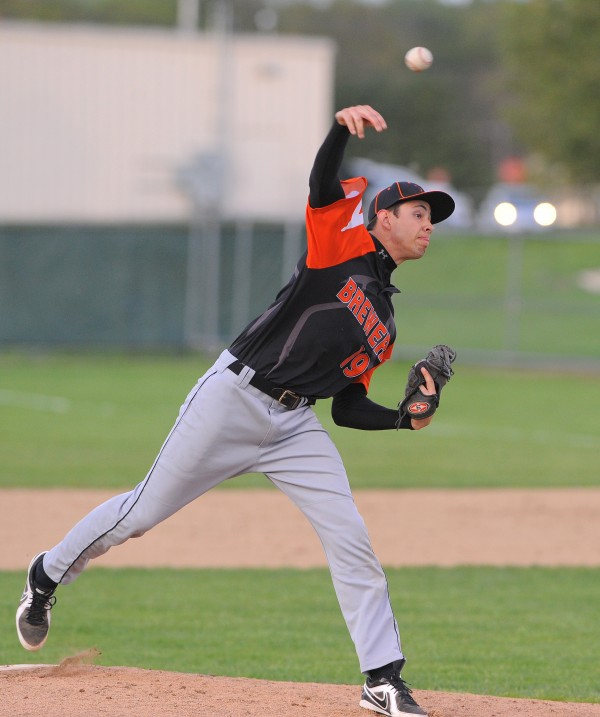 Brewer's Jeff Weeks pitches during the game against Bangor in Brewer Monday evening.