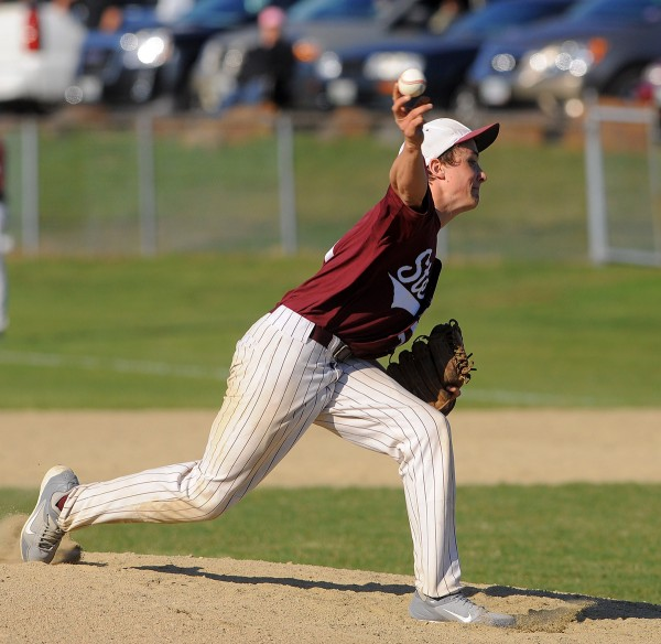 GSA's Will Ricker pitches during the game against Bucksport on Wednesday.