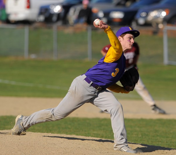 Bucksport's J.C. Comtois pitches during the game against GSA's in Bucksport on Wednesday.