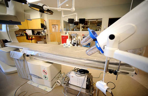 In this operating room at the Central Maine Heart and Vascular Center in Lewiston, surgeons preform triple bypasses and abdominal aortic aneurysm repairs.