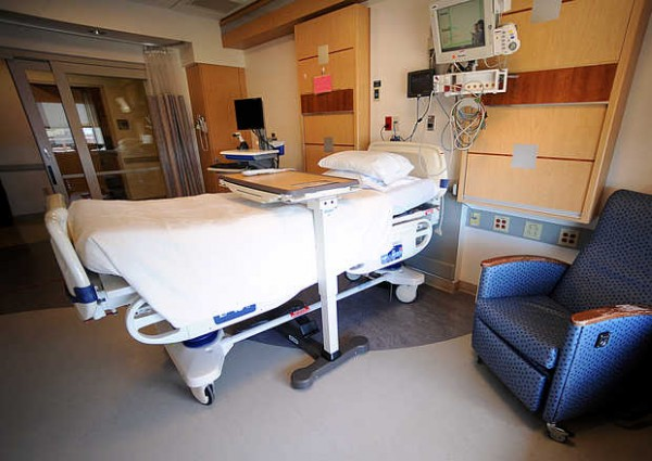Each cardiovascular single-stay room at the Central Maine Heart and Vascular Institute is private.
