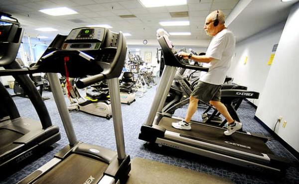 Rich Livingston works out in the Health and Fitness Center at Central Maine Medical Center recently. Livingston, 68, had a heart attack last fall. &quotI would have died but for the intervention&quot at the Central Maine Heart and Vascular Institute, he said.