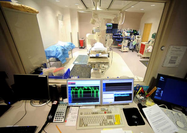 The cardiac catheterization lab at the Central Maine Heart and Vascular Institute is where doctors run tests on hearts using a long, thin, flexible tube called a catheter. The catheter is threaded through a blood vessel and into the heart.