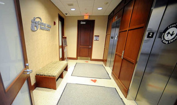 The Central Maine Heart and Vascular Institute uses heart-shaped stickers on the floor to lead patients and their families to their destinations.