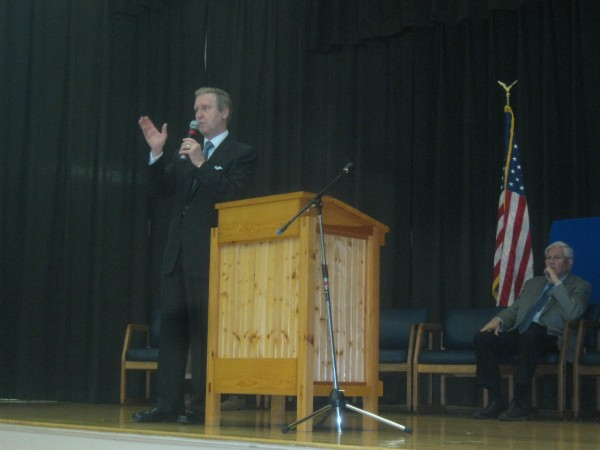 Former Secretary of Defense and former U.S. Sen. William S. Cohen speaks to students at  William S. Cohen Middle School  Monday morning.
