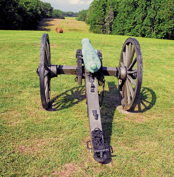 After capturing the high ground at Hazel Grove at Chancellorsville, Va. on Sunday, May 3, 1863, Confederate gunners deployed their artillery. Enjoying an excellent view of the 5th Maine Battery and other Union artillery batteries deployed near the distant Chancellorsville House, Southern gunners proceeded to destroy those batteries.
