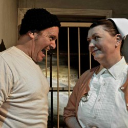 "Tim Pugliese and Shari John in New Surry Theatre's production of ""One Flew Over the Cuckoo's Nest"""