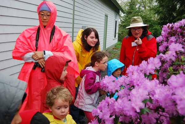 Environmental Educator Cyndi Kuhn leading families into nature
