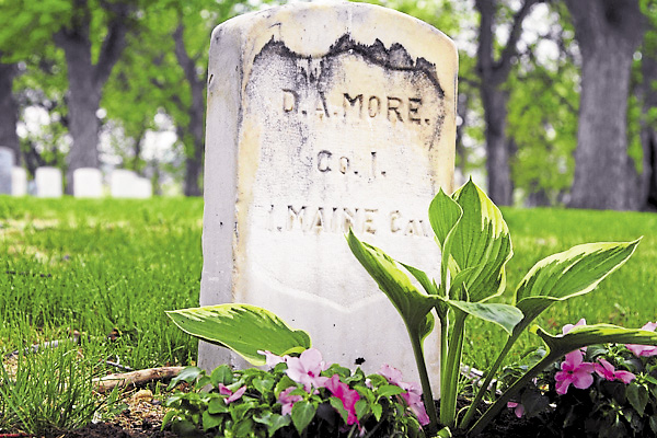 Born in Prospect in 1835, Delmont Moore joined the 1st Maine Cavalry Regiment in October 1861 and survived three years of service in Virginia. He later moved to Virginia; this stone marks his grave at Evergreen Cemetery in Colorado Springs.