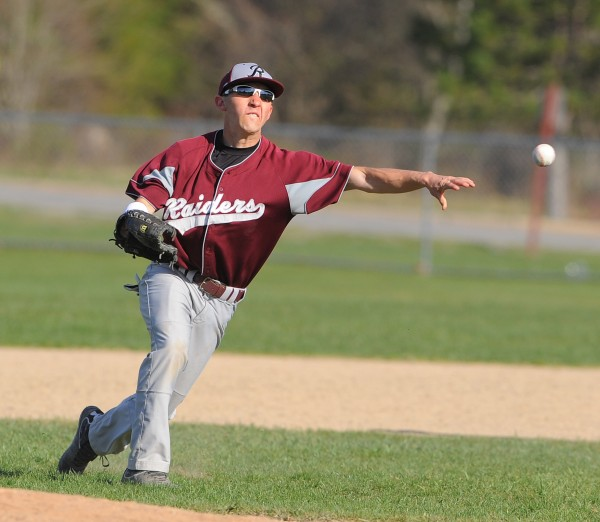Washington Academy shortstop Tyler Varney throws the ball to first base during the game against Ellsworth in Ellsworth on Tuesday. Washington Academy won 2-0.