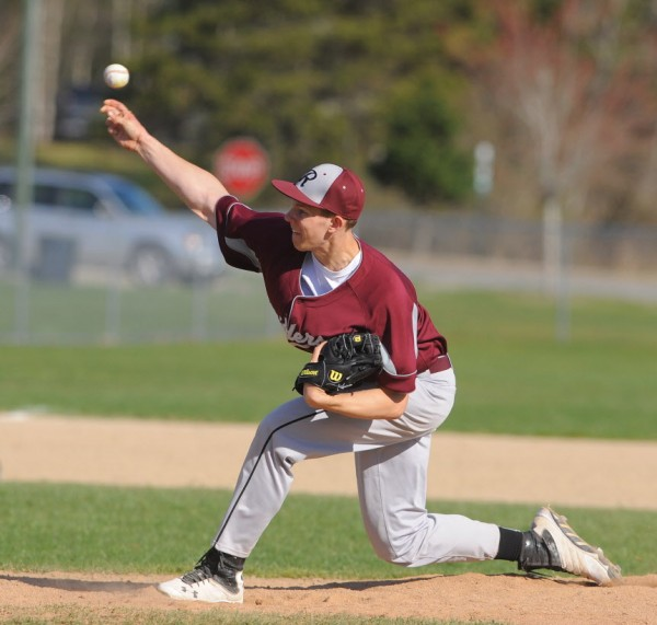 Washington Academy's Gage Feeney pitches during the game against Ellsworth in Ellsworth on Tuesday.