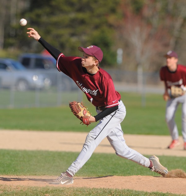 Ellsworth's Conon Maguire pitches during the game against Washington Academy in Ellsworth on Tuesday.