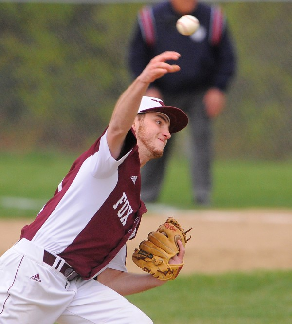 Foxcroft Academy's Jesse Provost pitches during the game against Old Town Dover-Foxcroft Tuesday afternoon.