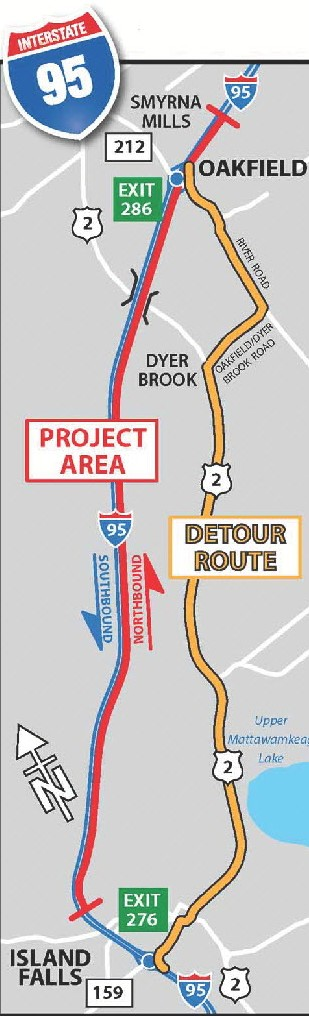 Map of reconstruction project on I-95 and the detour route.