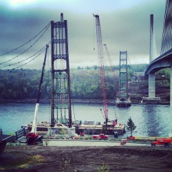 Massive barge and crane arrive in Bucksport to aid demolition of Waldo-Hancock Bridge