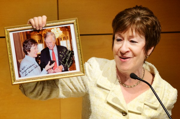 Maine Sen. Susan Collins shows a picture of herself and Sen. Angus King the moment they heard of William Kayatta's appointment as Maine's judge on the  U.S. 1st Circuit Court of Appeals. Collins was speaking at Kayatta's investiture at USM in Portland Friday afternoon.