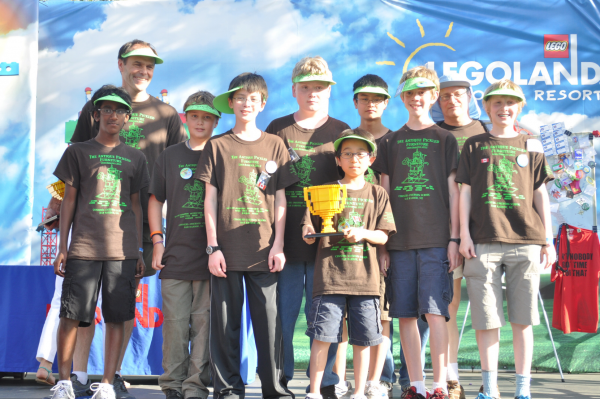 Members of the Conners Emerson Elementary School's award-winning Lego robotics team include (left to right) Yash Nair, Dave Gallup (coach), Lucas Ingebritson, Robbie Denegre, Branden Dagenais, Takanao Ishimura, Sean Lin, Alden Burgess, Jim Kadin (coach)and Ben Kadin.