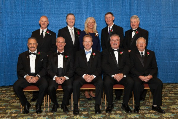 The Maine Sports Hall of Fame inducted 10 new members on Sunday during a ceremony at the Augusta Civic Center. They are (seated, from left): Robert Russo, Douglas Brown, Ricky Craven, Manchester Wheeler and Paul Vachon; and standing (from left): Skip Robinson, William Cohen, Paula Doughty, John Wolfgram and Gary Fifield.