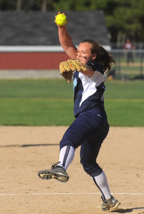 Calais's Olivia Smith pitches during the game against Mattanawcook Academy in Lincoln Monday.