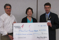 Check presentation from the Maine Affiliate of Susan G. Komen to Maine Coast Memorial Hospital and the Beth C. Wright Cancer Resource Center