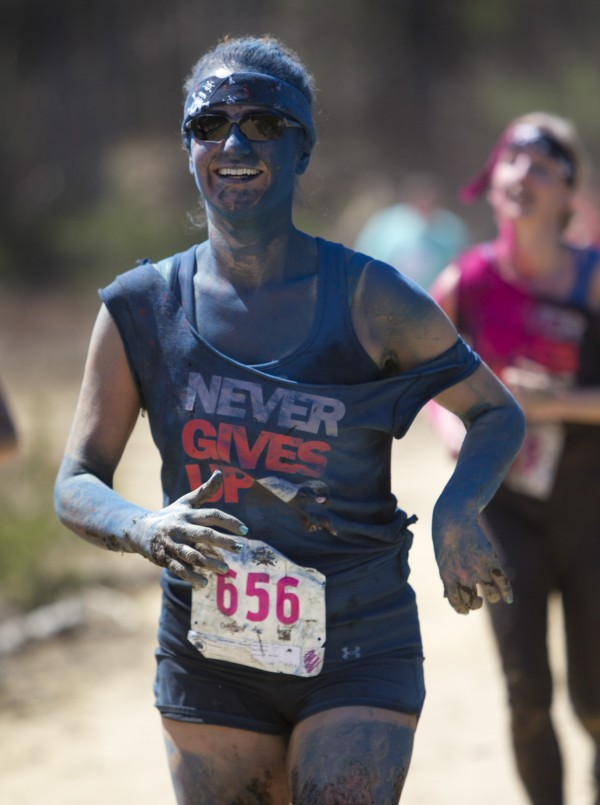 Alanna York of the Muddy Badgers competes in the Into The Mud Challenge, Sunday, April 28, 2013, in Gorham, Maine.