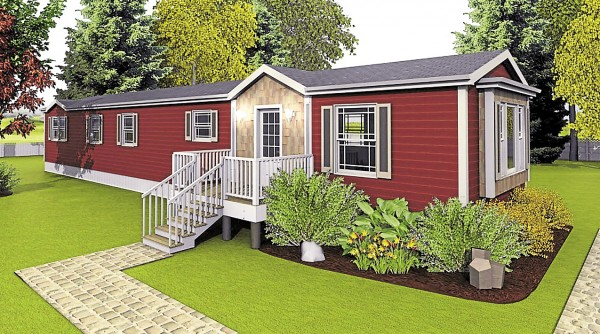 This artist's rendering of a mini modular house designed and constructed by Kent Homes of New Brunswick reveals how this new type of house would appear on landscaped property.