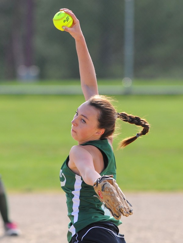 Old Town's Kendra Hayward pitches during the game in Ellsworth Thursday.