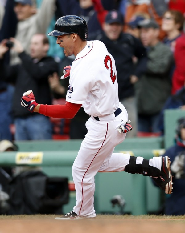 Boston's Jacoby Ellsbury reacts to driving in the winning run during the ninth inning against the Cleveland Indians at Fenway Park in Boston Sunday. The Red  Sox won 6-5.