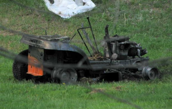 Flames engulfed and destroyed this riding lawnmower after a tenant at 1806 Route 2 in Rumford finished mowing the lawn late Saturday afternoon, Rumford fire Deputy Chief Chris Bryant said on scene. The fire did minimal damage to a garage wall beside which the mower was parked.